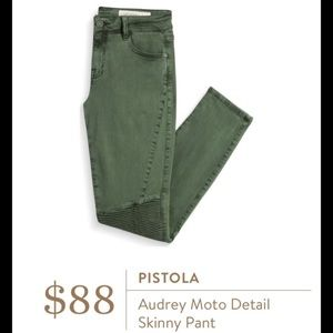 Pistola Audrey Green Moto Detail Skinny Pants